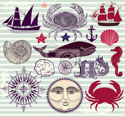 Wektor zestaw symboli morskich