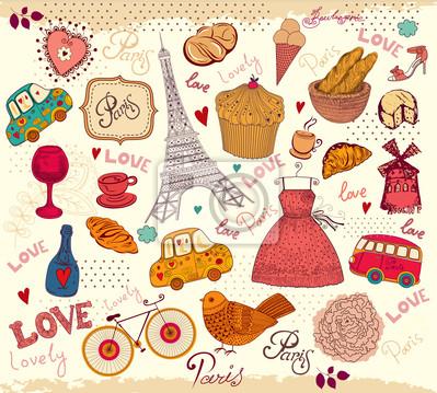 Fototapeta Wektor zestaw symboli Paryża