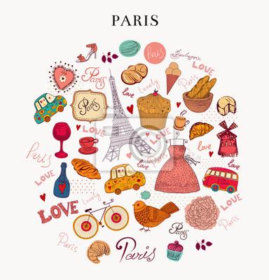 Wektor zestaw symboli Paryża