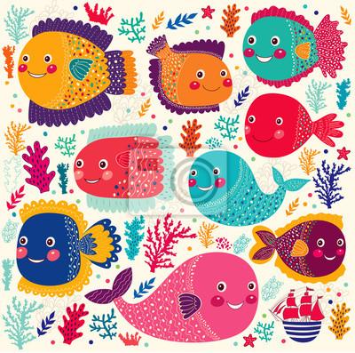 Wektor zestaw z kolorowymi zabawnymi ryb