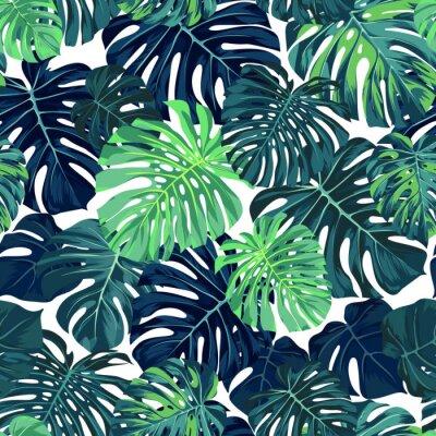 Fototapeta Wektor zielony wzór z liści palmowych monstera na ciemnym tle. Bezproblemowa tropikalny wzór tkaniny.