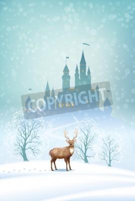 Fototapeta Wektor zima Boże Narodzenie krajobraz z bajki sylwetka zamku i jelenie