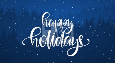 Fototapeta Wektorowa ilustracja: Ręcznie pisany elegancki kaligraficzny szczotkarski literowanie Wesołych świąt na niebieskim tle lasu