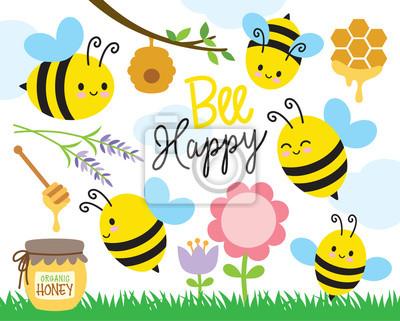 Fototapeta Wektorowa ilustracja śliczne pszczoły i miód.