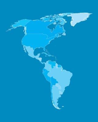 Fototapeta Wektorowa mapa - Ameryka Kraje Cyan