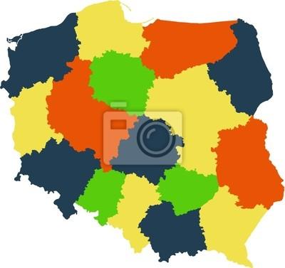 Fototapeta Wektorowa Mapa Polski Z Regionami I Panstwami Na Wymiar