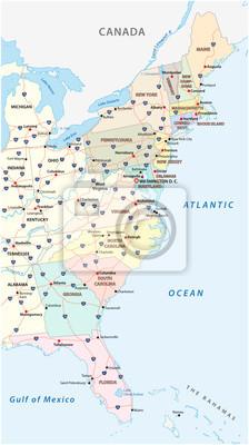 Fototapeta Wektorowa mapa Wschodnie wybrzeże, Stany Zjednoczone