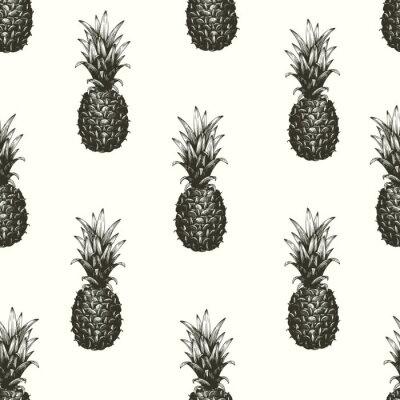 Fototapeta Wektorowa ręka rysujący bezszwowy wzór z ananasem. Tropikalny lato owoc grawerowane ilustracji stylu. Może być użyty do reklam, opakowań, kartek okolicznościowych, plakatów.