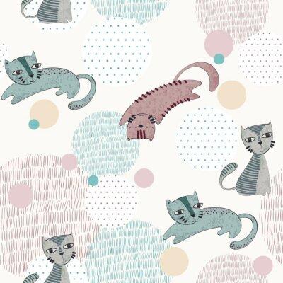 Fototapeta Wektorowa ręka rysujący bezszwowy wzór z kotami