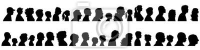 Fototapeta Wektorowa sylwetka set profilowa twarz różni ludzie.