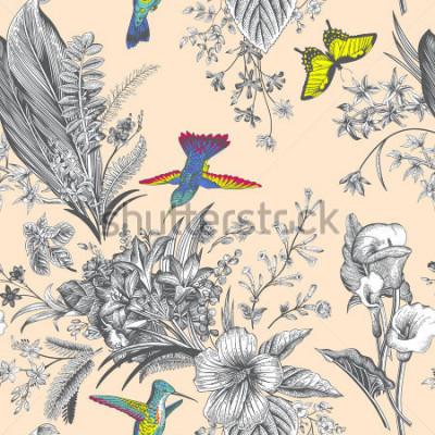 Fototapeta Wektorowego bezszwowego rocznika kwiecisty wzór. Egzotyczne kwiaty i ptaki. Botaniczna klasyczna ilustracja. kolorowy