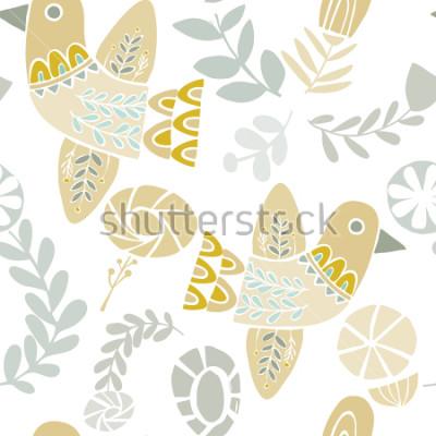 Fototapeta Wektorowi pastelowi ludowi kwiaty i kwiaty na białym tle. Idealny do rzemiosła, tkanin, papieru do pakowania, tapet