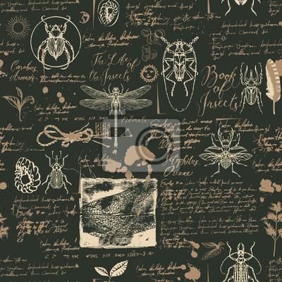 Wektorowy bezszwowy abstrakcjonistyczny tło z insektami w retro stylu. Chrząszcze, ważki, plamy z atramentu, gryzmoły i odręczne napisy na starych rękopisach. Może być używany jako tapeta, papier do p