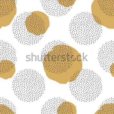 Fototapeta Wektorowy bezszwowy wzór z round kropkowanymi elementami i złotymi okręgami. Modne tło Memphis.
