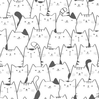Fototapeta Wektorowy bezszwowy wzór z ślicznymi kotami. Doodle sztuki. Kot bez szwu ręcznie rysowane tła