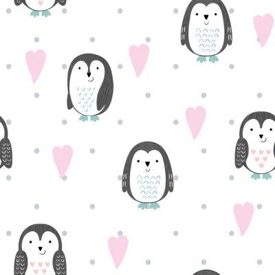 Fototapeta Wektorowy bezszwowy wzór z ślicznymi kreskówka pingwinami