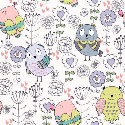 Fototapeta Wektorowy bezszwowy wzór z sowami i kwiatami