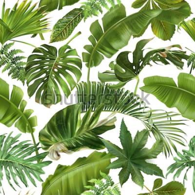 Fototapeta Wektorowy bezszwowy wzór z zielonymi tropikalnymi liśćmi na białym tle. Najlepszy jako papier do pakowania, tapeta
