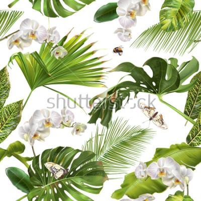 Fototapeta Wektorowy botaniczny bezszwowy wzór z tropikalnymi liśćmi, orchidea kwiatami i motylami na bielu ,. Projekt tła dla kosmetyków, spa, wesele, strony internetowej. Najlepsze do druku w stylu hawajskim,