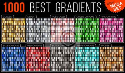 Fototapeta Wektorowy mega set gradienty. Duża kolekcja kolorowa kruszcowa gradientowa ilustracja. Złoto, srebro, niebieski, czerwony, różowy, zielony, lazurowy, brązowy.