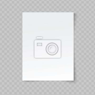 Fototapeta Wektorowy pusty prześcieradło papier na przejrzystym tle.