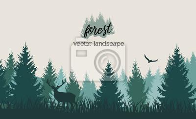 Fototapeta Wektorowy rocznika lasu krajobraz z błękitem i grees sylwetkami drzewa i dzikie zwierzęta