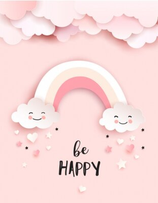 Fototapeta Welcome baby greetings card, nursery poster with cute clouds and rainbow, vector paper art