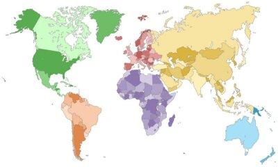 Fototapeta Weltkarte - einzelne Kontinente w Farbe (dunkel)