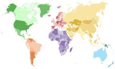 Fototapeta Weltkarte - einzelne Kontinente w Farbe (piekło)