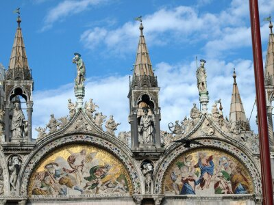 Fototapeta Wenecja - Bazylika Świętego Marka. Mozaika z górnej elewacji