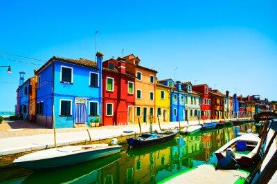 Fototapeta Wenecja punkt orientacyjny, Burano wyspa kanał, kolorowe domy i łodzie,