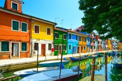 Fototapeta Wenecja punkt orientacyjny, Islandia Burano kanał, kolorowe domy i łodzie,