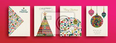 Fototapeta Wesołych Świąt Bożego Narodzenia retro sztuki ludowej kolekcji kart