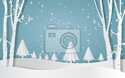 Fototapeta Wesołych Świąt, las śnieżny. sosny w zimie i góry Ilustracja wektora papieru