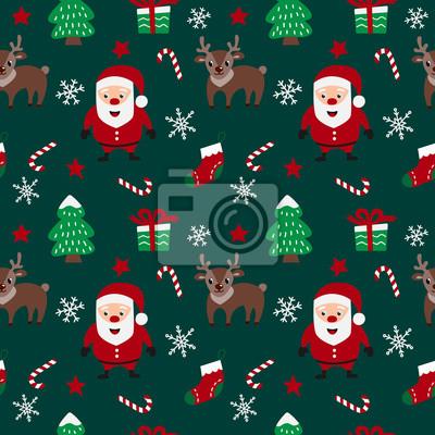 Wesołych Świąt wzór z Mikołajem, jelenie, płatki śniegu, gwiazdy, choinki i cukierki w wektorze. Wzór może służyć do tapety, wzór wypełnienia, tła strony internetowej.