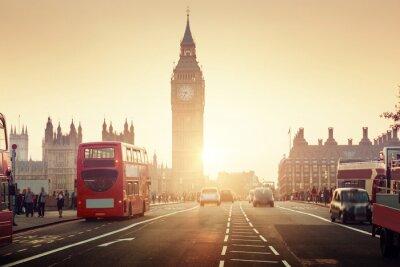 Fototapeta Westminster Bridge o zachodzie słońca, Londyn, Wielka Brytania