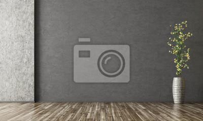 Fototapeta Wewnętrzny tło pokój z stiukową ścianą i wazą z gałęziastym 3d renderingiem