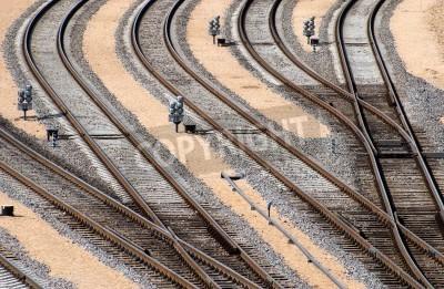 Fototapeta Węzeł kolejowy przejściach perspektywy szyn