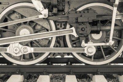 Fototapeta wheels closeup old locomotive of beige color