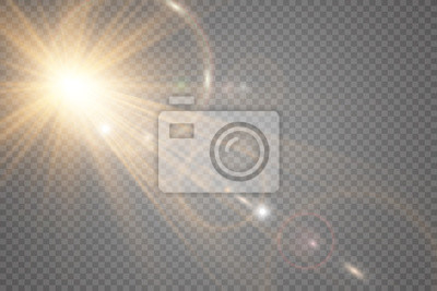 Fototapeta White beautiful light explodes with a transparent explosion. Vector, bright illustration for perfect effect with sparkles. Bright Star. Transparent shine of the gloss gradient, bright flash.