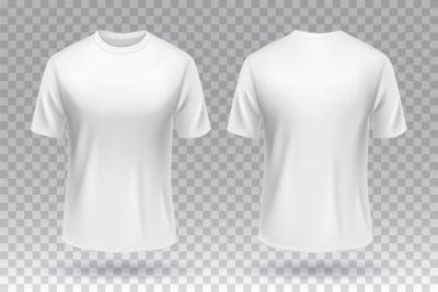 Fototapeta White blank T-shirt front and back template mockup design isolated.