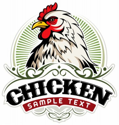 Fototapeta White chicken head, chicken farm vector logo concept.