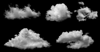 Fototapeta White clouds isolated on black background, clounds set on black