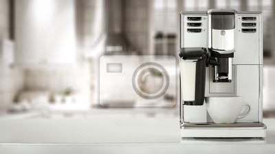 White coffee machine in kitchen and free space for your decoration