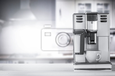 White coffee machine in kitchen interior and free space for your decoration.
