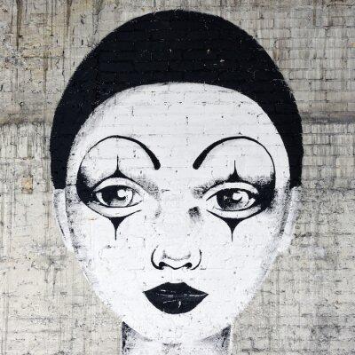 Fototapeta White faced clown graffiti na brickwall