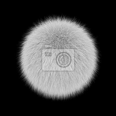 Fototapeta White fluffy ball, fur pompon isolated on black