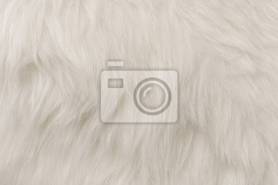 Fototapeta White flufy textile close-up. Faux fur background.