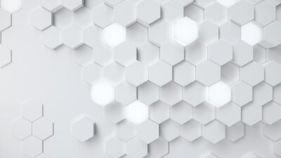 Fototapeta White geometric hexagonal abstract background. Surface polygon pattern with glowing hexagons, hexagonal honeycomb. Abstract white self-luminous hexagons. Futuristic abstract background 3D Illustration