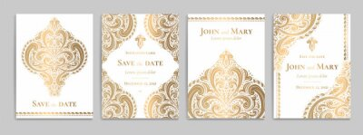 Fototapeta White invitation card with luxury gold pattern design on a grey background. Vintage ornament template. Can be used for flyer, wallpaper, packaging or any desired idea. Elegant vector elements.